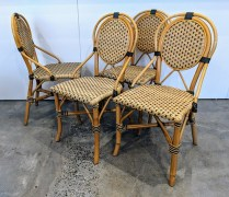 "Set/4 Palecek French bistro-style dining side chairs. 10 years old, discontinued style. 17""w x 18""d x 35.25""h. 450.- set/4"