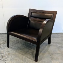 "**ITEM NOW SOLD** Sawaya & Moroni (Italian) leather/wood lounge chair. 26""w x 29.5""d x 25.5""h. Orig. List: $4,000.-6,000. Modele's Price: 1195.-"