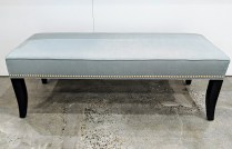 """**ITEM NOW SOLD** Crate & Barrel upholstered bench, with silver nail head trim. 5 years old. Sun-fading on fabric. 52.5""""w x 20.5""""d x 18""""h. 195.-"""