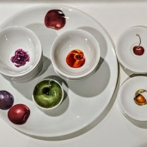 """The White Snow Fruits, from Driade, Italy. Design by Antonia Astori, Milano. Platter; 15.75"""" d. 3 sizes of bowls and one set of saucers. 30. - 85. for sets. Platter: 65.-"""