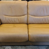 "**ITEM NOW SOLD** Ekornes 'Liberty' Stressless loveseat. 5 year old, very light use. Leather: Paloma Taupe. 70""l x 33""d x 34""h. Original List: $3,899. Modele's Price: 1650.-"