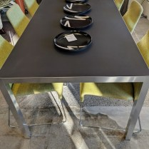 "**ITEM NOW SOLD** MDF Italia 'Lim' dining table. Never used, fresh from crate. Aluminum frame with matte ceramic top in dark grey. 70.75""l x 35.25""w x 28.5""h. Current List: $3,650.+ Modele's Price: 1750.-"