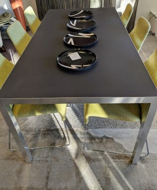"""MDF Italia 'Lim' dining table. Never used, fresh from crate. Aluminum frame with matte ceramic top in dark grey. 70.75""""l x 35.25""""w x 28.5""""h. Current List: $3,650.+ Modele's Price: 1750.-"""