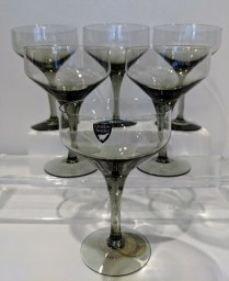 "**ITEM NOW SOLD** Set/6 vintage Orrefors 'Rhapsody Smoke' champagne/dessert coupes, 5.25"" tall. C. 1960's-1970's. Set/6: 60.-"