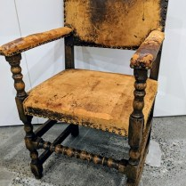 "**ITEM NOW SOLD** Vintage armchair with distressed leather. Rustic chic! 22.5""w x 20""d x 35.75""h. 250.-"