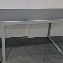 "**ITEM NOW SOLD** Horm (Italy) 'Wow!' dining table with grey laminate top on powder coated base. Extends with built in leaf to 82.5""l. Closed: 47.25""; 29.5""w x 29.5""h. Current List: $2100. plus shipping from Europe. Modele's Price: 950.-"