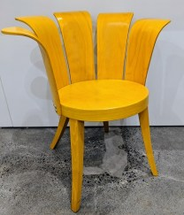 """**ITEM NOW SOLD** Bent-wood chair by King Harold. Purchased in 2001 from De Sousa Hughes Showroom in San Francisco. 28""""w x 23""""d x 30.75""""h. 275.-"""