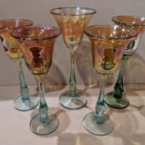 "**ITEM NOW SOLD** Set/5 luster art glass goblets by Rick Strini. c. 1980's, signed on bottom. 9""-10""h. 95.- set"