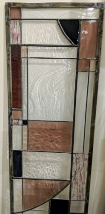 """**ITEM NOW SOLD** Stained glass panel, leaded glass. 16""""w x 69.5""""h. 95.-"""