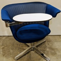 "**ITEM NOW SOLD** Steelcase 'i2i Collaborative chair'. 4 years old, looks unused. Adjustable table, swivel base and seat. 32""w x 28""d x 31.25""h. Current List: $1,500. Modele's Price: 395.-"