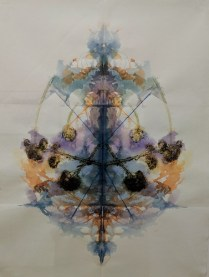 "Original painting by Christi Birchfield: 'Arrangement II"" 2018. Botanical matter and watercolor on handmade paper. Framed, 20.75""w x 26.75""h. 1200.-"