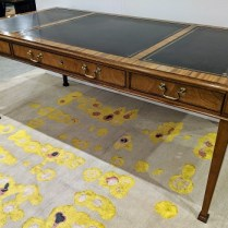 "**ITEM NOW SOLD** Baker Collector's Edition writing desk with leather inlay top, 3 drawers. Approx. 20 years old. 72.5""w x 36.25""d x 30.25""h. 1950.-"