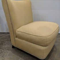 """**ITEM NOW SOLD** Baker Barbara Barry 'Slipper' lounge chair. Approx. 10 yrs. old, very little use. 28""""w x 33""""d x 34""""h. Orig. List: approx: $2000. Modele's Price: 650.-"""