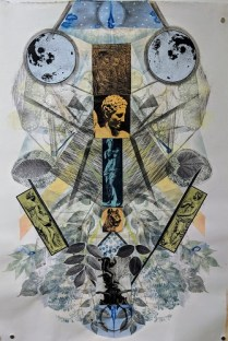 """Christi Birchfield original: 'The Difference Between Men and Women' 2017. Monoprint, watercolor, graphite and collage. Unframed, 28.5""""w x 40.75""""h. 1800.-"""