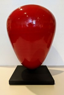 "**ITEM NOW SOLD** Ceramic vessel by Nortwest artist Brian Mackin, 1996. Displayed on wood stand. 10"" dia. x 15.5""h 85.-"