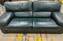 """Roche Bobois classic leather sofa in dark green. 20 years old, very little wear. Very comfortable and nice, thick leather. 77""""w x 39""""d x 32.75""""h. 2350.-"""