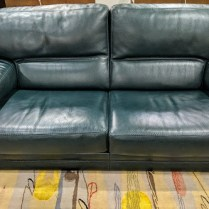 "**ITEM NOW SOLD** Roche Bobois classic leather sofa in dark green. 20 years old, very little wear. Very comfortable and nice, thick leather. 77""w x 39""d x 32.75""h. 1950.-"