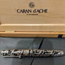 **ITEM NOW SOLD** Caran d'Ache of Switzerland 'La Poya' fountain pen. Limited Edition: #1508/2002 Silver/rhodium cage and fittings, diamond on cap. Current List: $1,500.- Modele's Price: 550.-