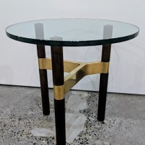 "**ITEM NOW SOLD** Design Within Reach 'Helix' side table. Solid walnut, cast brass, thick glass top. 20""dia. x 20""h. Current List: $1,395. + shipping. Modele's Price: 795.-"