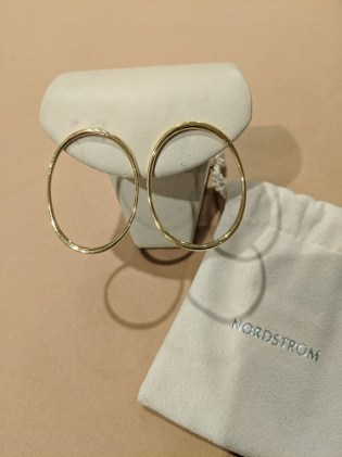Pair Jordan Schlanger 18K yellow gold oval hoops, purchased from Nordstrom 9 years ago (very light use). Orig. List: $1,500.-1,600. Modele's Price: 695.-
