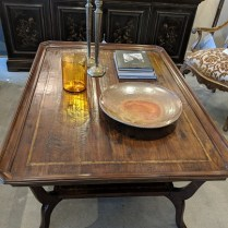 "**ITEM NOW SOLD** MK Furnishings cocktail table. Approx. 10 years old. Hand-scraped planks. 54.5"" x 38.25"" x 22.5""h. Current List: over $3,000. Modele's Price: 1395.-"