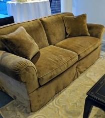 """O'Henry House '5000' sofa, purchased in 2007 from Michael Folks showroom. Brunschwig & Fils linen velvet. 80.5""""l x 41""""d x 34""""h. Orig. List: over $6,000. Modele's Price: 2250.-"""