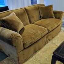 "**ITEM NOW SOLD** O'Henry House '5000' sofa, purchased in 2007 from Michael Folks showroom. Brunschwig & Fils linen velvet. 80.5""l x 41""d x 34""h. Orig. List: over $6,000. Modele's Price: 2250.-"