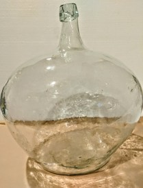 "**ITEM NOW SOLD** Wide Italian wine jug, purchased in 1961 from Napa vineyard owner. 15""w x 11""d x 16.5""h 150.-"