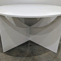 "**ITEM NOW SOLD** e-15 'Charlotte' coffee table; white lacquered oak plywood, cut from one sheet. Made in Europe. 30""dia. x 16""h. Current List: $653. Modele's Price: 250.-"
