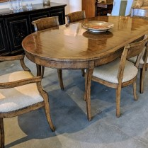 """**ITEM NOW SOLD** Alder & Co. dining set; table plus six chairs (2 arm, 4 side). Purchased from The Michael Folks Showroom in 2007. Walnut finish. Table: 84.25""""l x 44""""w x 30""""h. Orig. List: $14,000. Modele's Price: 6950.-"""