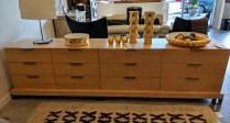 "Custom designed/bulit 3-piece dresser/credenza. Made by Schuchart-Dow. Curly maple veneers, self closing drawers. 114""w x 24""d x 30""h. Original List: $8,000. Modele's Price: 2750.-"