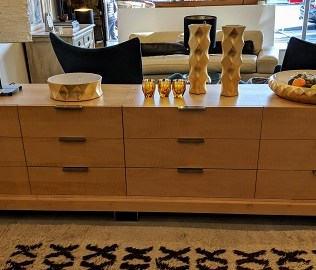 """**ITEM NOW SOLD** Custom designed/bulit 3-piece dresser/credenza. Made by Schuchart-Dow. Curly maple veneers, self closing drawers. 114""""w x 24""""d x 30""""h. Original List: $8,000. Modele's Price: 2750.-"""