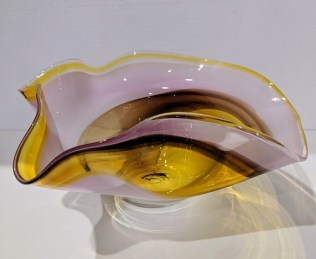 "Handblown glass bowl, signed by Chris Clark, 1985. 15"" x 13.5"" x 7""h 195.-"