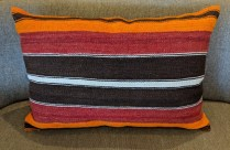 "Kilim pillow, from Turkey. 27""w x 18""h 125.-"