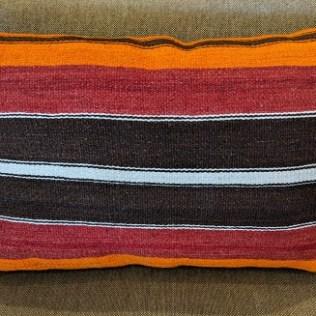 """Kilim pillow, from Turkey. 27""""w x 18""""h 95.-"""