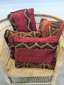 Throw pillows made from Moroccan carpet. Never used. Prices range from 50.- 75.
