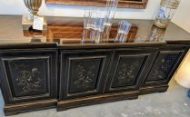 """**ITEM NOW SOLD** Heritage Chinoisserie-style buffet. Approx. 25 yrs. old. 77.75""""w x 21.5""""d x 32.5""""h 895.-"""