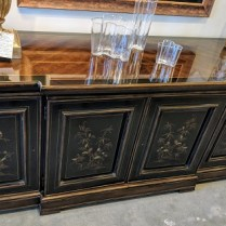 "**ITEM NOW SOLD** Heritage Chinoisserie-style buffet. Approx. 25 yrs. old. 77.75""w x 21.5""d x 32.5""h 895.-"