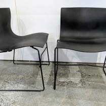 "**ITEM NOW SOLD**Set/4 Knoll 'Handkerchief' stackable dining chairs. 10 years old. Fiberglass reinforced polyester with steel base. 21.75""w x 21""d x 29""h. Current List: $2,324. set/4 Modele's Price: 950. set/4"