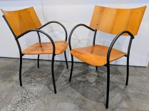 "Set/4 'XO 'Clio' stackable dining chairs, designed by Philippe Starck. Approx. 12 years old. 21.75""w x 21.75""d x 34""h. Orig. List: $2000. set. Modele's Price: 995. set"