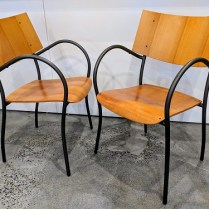 "**ITEM NOW SOLD** Set/4 'XO 'Clio' stackable dining chairs, designed by Philippe Starck. Approx. 12 years old. 21.75""w x 21.75""d x 34""h. Orig. List: $2000. set. Modele's Price: 995. set"