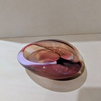 "**ITEM NOW SOLD** Handblown glass vessel by Chris Clark. Signed. 7.25"" x 6"" x 2.5""h 95.-"
