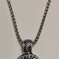 "**ITEM NOW SOLD** David Yurman sterling silver necklace with green quartz pendant and 14K gold bezel around stone. 17"" chain. 995.-"