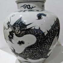 "**ITEM NOW SOLD** Large Asian pot (Chinese) with dark blue/black dragon and other details. 13.75"" dia. x 15.5""h. 175.-"