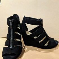 Via Spiga black suede/elastic strap wedge sandals. Purchased at Nordstrom, worn 4-5 times. Size 7.5 Orig. List: Approx. $350. Modele's Price: 95.-