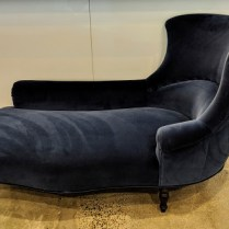"""**ITEM NOW SOLD** French chaise, c. 1940's with all new upholstery and stuffing. Blue velvet (it's brighter than in the photo). 68.5""""l x 36.5""""w x 36.25""""h. Orig. List: $9,000. to 10,000. Modele's Price: 2950.-"""