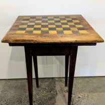 """**ITEM NOW SOLD** Antique Shaker table with checkerboard painted top. 23"""" sq. x 29.5""""h 295.-"""