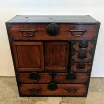 "**ITEM NOW SOLD** Antique Japanese office tansu. c. late 19th century. 29""w x 13.5""d x 31""h. Original list: $1,200. Modele's Price: 750.-"