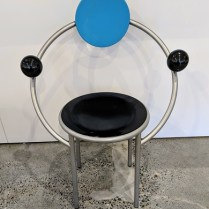 "**ITEM NOW SOLD** Memphis Milano 'First Chair' designed by Michele De Lucchi in 1983. Purchased from Current in the 1980's. 26""w x 18.25""d x 36""h. Comparable online prices start at $1,540. Modele's Price: 325.-"