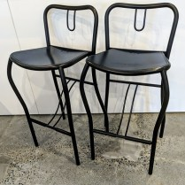 "**ITEM NOW SOLD** Pair Artelano counter stools, purchased at Current in the 1980's. 16.25""w x 15.5""d x 32.5""h. Seat height: 25.25"" 195.- pair"